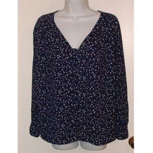 ✅Zara basic navy blue stars blouse top M relaxed